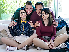 Their dads want to teach the geeks how to be cool, so they have the girls smooch each other and put on a stunning show. After that, the girls exchange dads and get a lesson in beef whistle sucking. Then, they climb up on each other's dad's sau