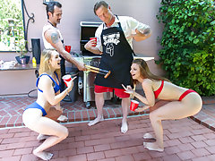 Both these dads want to fuck each others daughters, so they determine to just go for it! Jaycee and Natalie swap dads and pop their teenie poons for their firm man meat. Jaycee groans as she gets her youthful poon pounded. Natalie juggles up and down on a