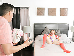 Kadence Marie is a redheaded freak who was patiently waiting for her step-father to arrive home from a biz trip. She was expecting for a present! When she ran off to open it she found out a a vibing massager that was meant for her mother! Step daddy attem