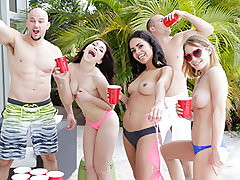 Three immensely super-hot bffs Jennifer Jacobs, Vienna Dark-hued and Raylin Ann gets their taut cooch plowed by a XXL firm hard-on on a spring break vacation.