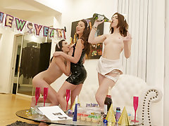 3 alluring bestfriends Lily, Eden, and Joseline gets a gloppy cum splat from a fellow next door with a good-sized mean cock who boinked each one of them during a fresh years eve party.