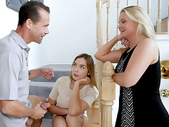 Swett pretty stunning teen girl Blair Williams gets her lil lovehole plumbed by her step dads colossal sized meat stick in different romp positions.