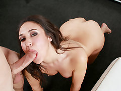 Handsome ravishing woman Kylie Kalvetti stroke and deep-throats a enormous stiff lovestick of a lucky fellow like a pro and gets a warm jizm right after.